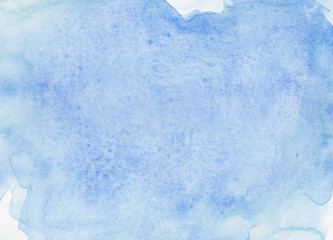 Bright Blue Watercolour Art Texture Hand Painted Background on Watercolor Paper