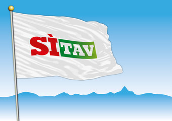Si Tav movement flag, Italy, vector illustration