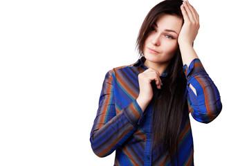 young beautiful brunette feels headache