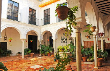 Patio of the House Palace Marquis of the Towers in Carmona, Andalusia, Spain