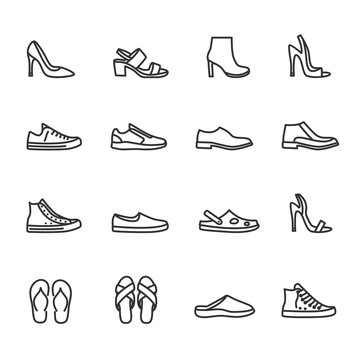 Vector set of shoes line icons.