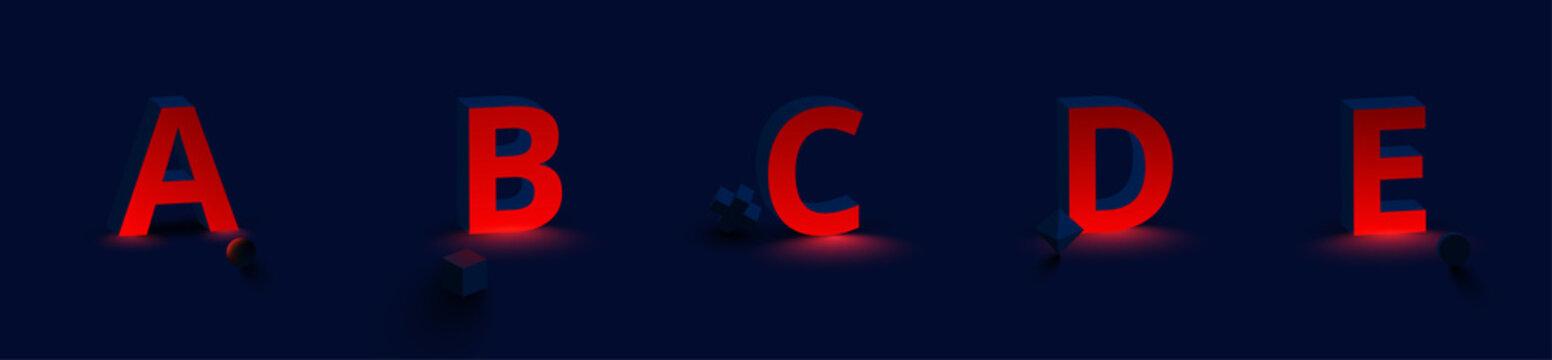 Red luminous latin 3d letters A, B, C, D, E. Font design for logo.