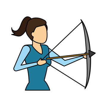 business woman holding bow and arrow