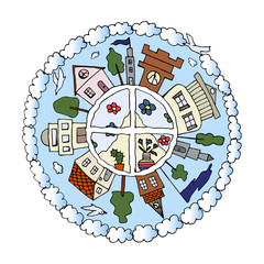 Decorative hand drawn colorful mandala with houses, city life details, clouds and birds, vector