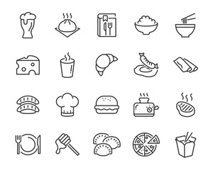 set of food icons ,such as bread, rice, meat, drink