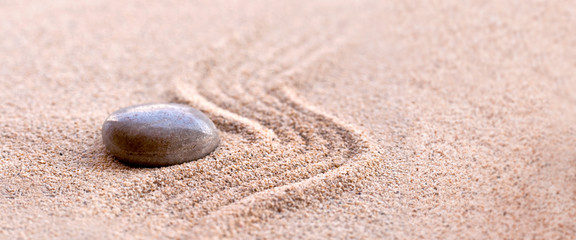 Zen stone and sand, panoramic zen still life