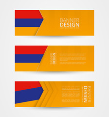 Set of three horizontal banners with flag of Armenia. Web banner design template in color of Armenia flag.