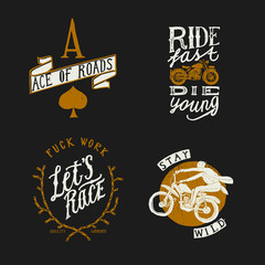 Biker design t-shirt set: ace of roads, ride fast die young, fuck work - let's race, stay wild. Motorcycle print set.