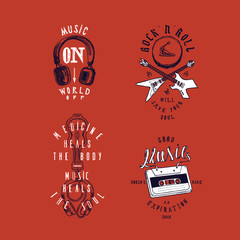 Music t-shirt print set: Music on - world off, rock'n'roll will save your soul, medicine heals the body - music heals the soul, good music doesn't have an expiration date.