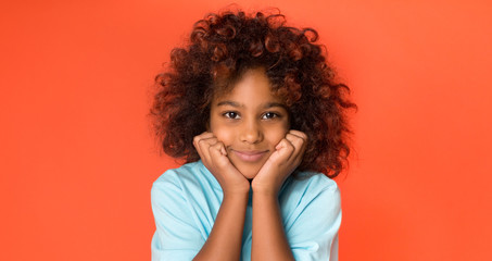 Little african-american girl posing and looking at camera