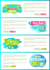 Special offer proposition seasonal sale, floral decoration flowers on web poster with text sample. Best spring discount 70 and 50 percent off price banner vector