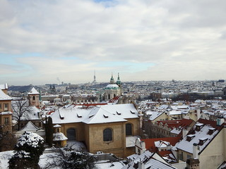 View of the hundred towers winter Prague, Czech Republic