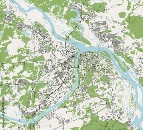 Novgorod Russia Map.Vector Map Of The City Of Nizhny Novgorod Russia Stock Image And