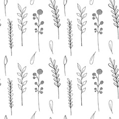 Raster pattern of ink drawing wild plants, herbs and flowers, monochrome botanical + burdock, leaves, branches, daisy, grass, bud, blossom+isolated hand drawn illustration