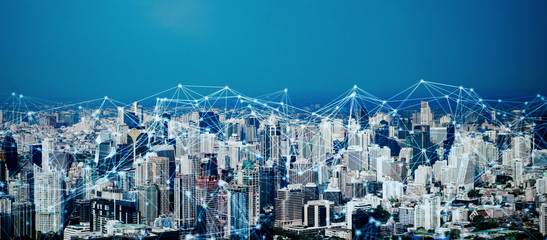 Digital network connection lines of Sathorn, Bangkok Downtown, Thailand. Financial district and business center in smart technology urban city. Skyscraper and buildings