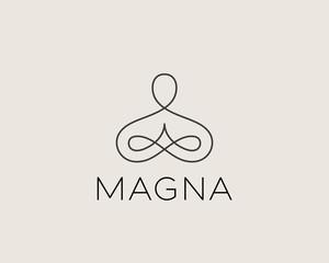 Abstract yoga human linear logo. Thread person flower balance logotype. Creative spa, guru vector mark.