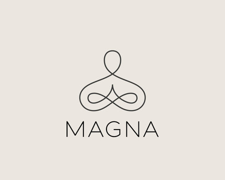 Abstract yoga human linear logo. Thread person flower balance logotype. Creative spa, guru vector mark.