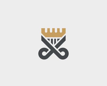 Scissors comb logotype. Crown hair shield vector logo.