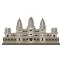 Flat design icon of Angkor Wat, Cambodia