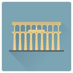 Aqueduct of Segovia, Spain, vector icon