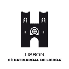 Lisbon Cathedral vector silhouette