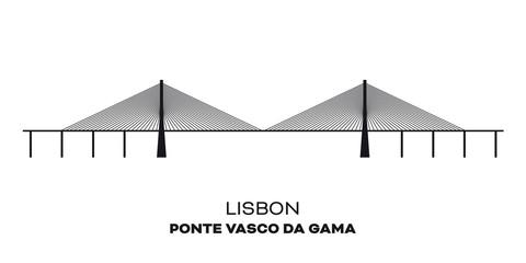 Vasco da Gama bridge at Lisbon, Portugal, silhouette
