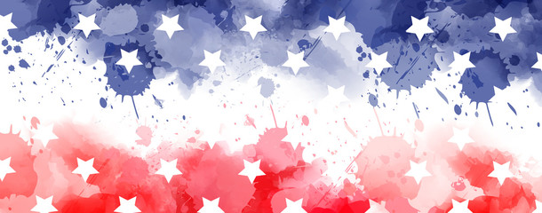 Watercolor banner in USA flag colors with stars