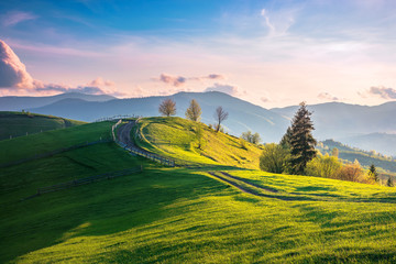 beautiful countryside in mountains at sunset. country road and fence through field on rolling hill. ridge in the distance. wonderful springtime sunny weather with pink clouds