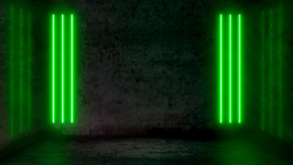 Empty dark abstract room with green fluorescent neon lights. Stage, scene and night club party concept background with copy space for text or product display. Wall mural