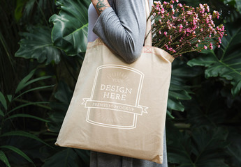 Tote Bag with Flowers Mockup