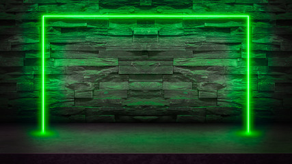 Empty dark stone table with green fluorescent neon laser lights. Party and night club concept background with copy space for text or product display.