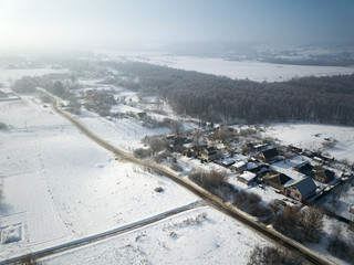 aerial panorama - small houses and snow