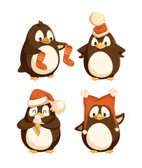 North pole cartoon penguins in warm winter cloth. Arctic bird with stockings, in Santa Claus hat, eating ice cream and sending greetings isolated vector animals