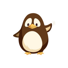 Penguin waving left wing and sending greetings to everyone, wintertime cartoon character isolated vector. Funny arctic bird, small animal kid, funny creature