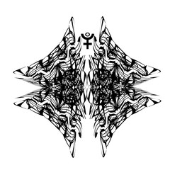 Tattoo designs. Abstract pattern, phoenix. Astrological symbol Pluto