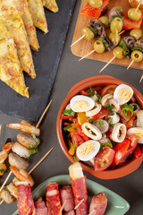 Flat lay spanish tapas appetizers