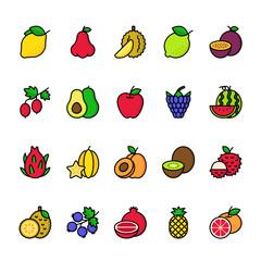 Color line icon set of Fruit