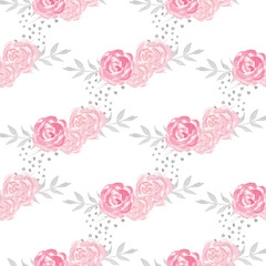Watercolor seamless pattern with  pink flowers.