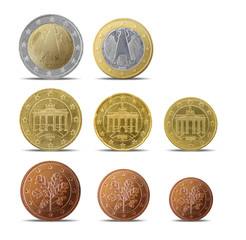 German euro coins isolated on white