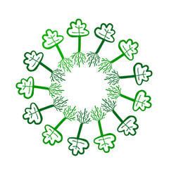 Green trees with roots hand drawn mandala illustration