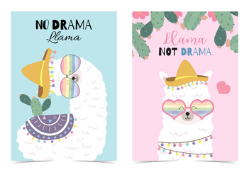 Blue pink hand drawn cute card with llama, star ,glasses,cactus and balloon.No drama llama,Llama not drama