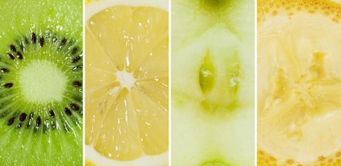 Juicy collage of kiwi, lemon, apple and banana