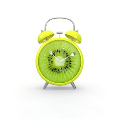 Kiwi slice alarm clock on white background. Minimal business concept