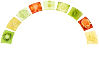 Collage of fruits, vegetables and plants in a circle