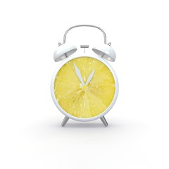 Orange slice alarm clock on white background