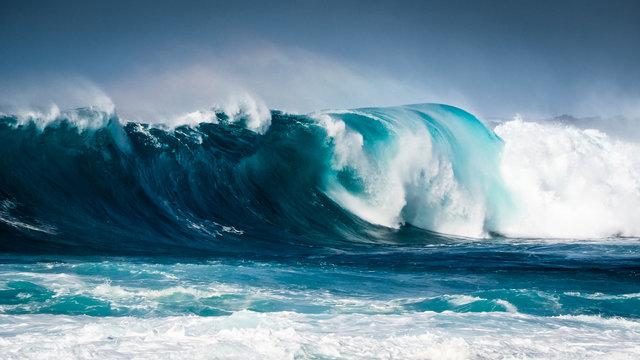 Waves breaking on the coast of Lanzarote, La Santa.