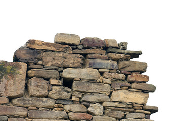 old ancient ruined stonework wall of bricks and stone blocks foreground closeup isolated on white...