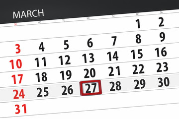 Calendar planner for the month march 2019, deadline day, 27 wednesday