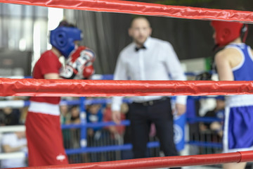Fototapeta Blurred image young athletes boxers and sports referee in a ring boxing game obraz