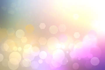 Abstract purple gradient yellow background texture with blurred bokeh circles, polygons and lights. Space for design.